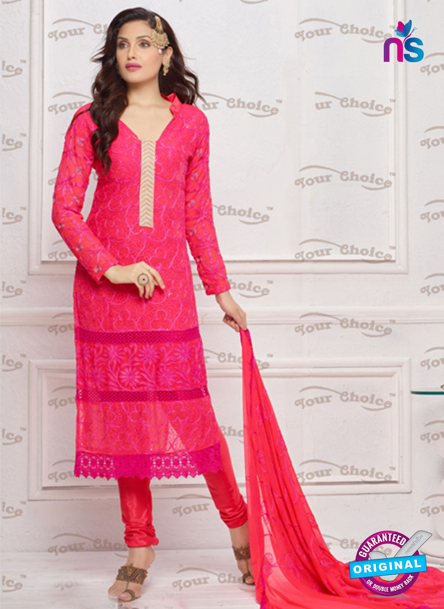 NS10311 Magenta and Beige Pure Chiffon Designer Straight Suit
