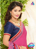 NS10035 Pink and Red Wedding Wear Chiffon Designer Saree