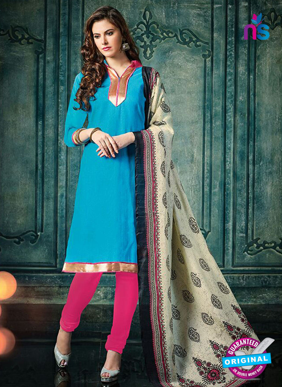 NS 12487 Blue and Pink Banarasi Jacquard Straight Suit