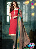 NS 12488 Red and Grey Banarasi Jacquard Straight Suit