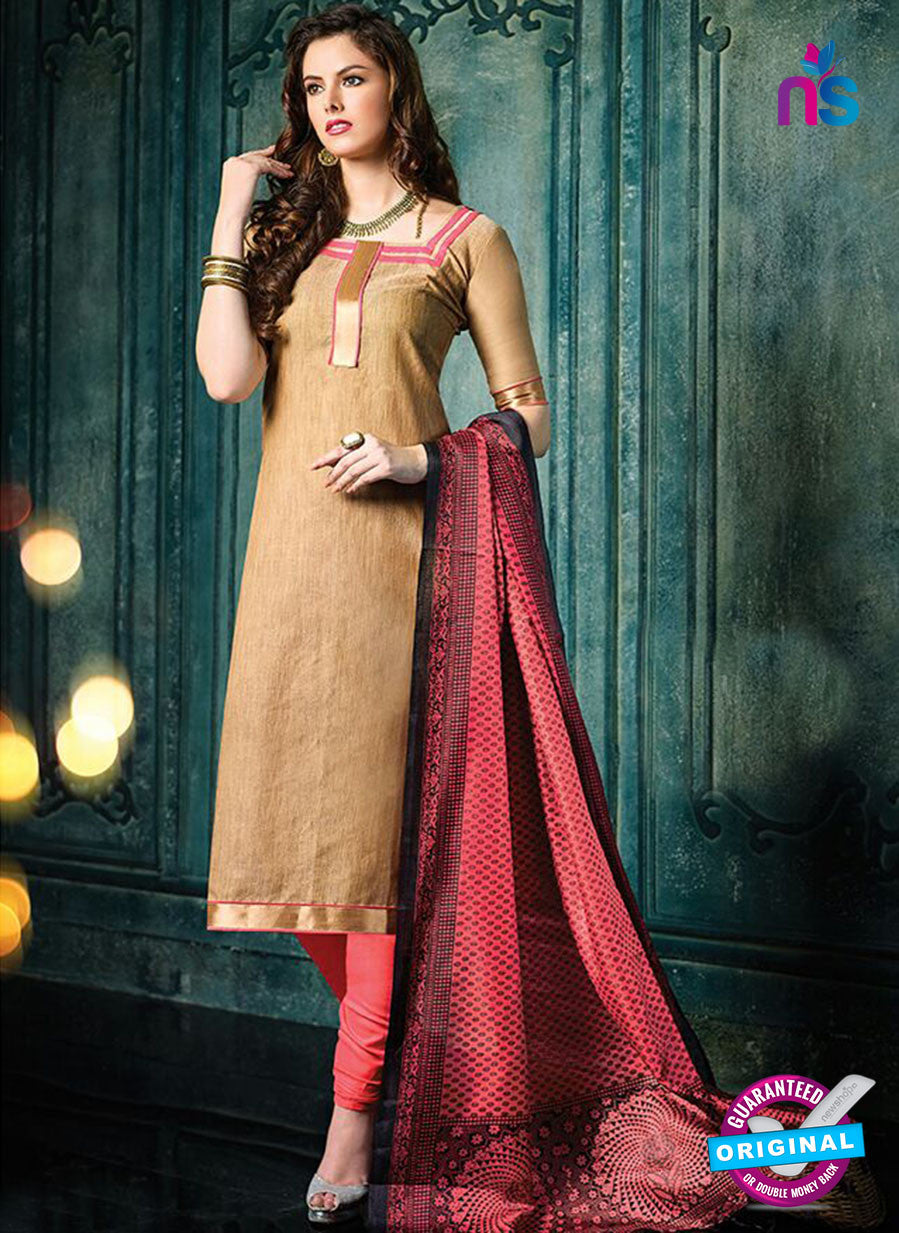 NS 12493 Brown and Red Banarasi Jacquard Straight Suit