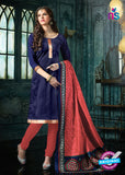 NS 12494 Blue and Red Banarasi Jacquard Straight Suit