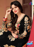 NS10525 Black and Red Party Wear Georgette Straight Suit