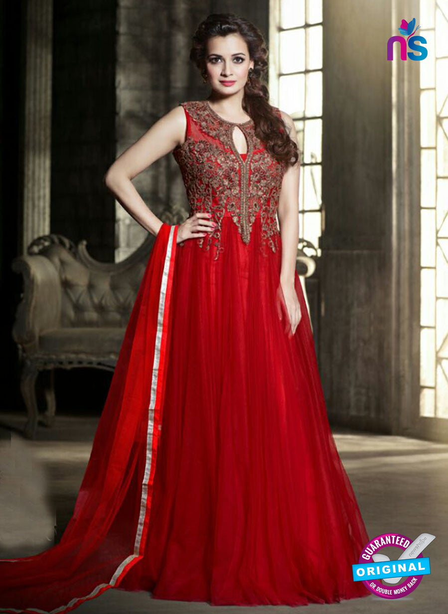 NS10603 Red Color Net Designer Gawn