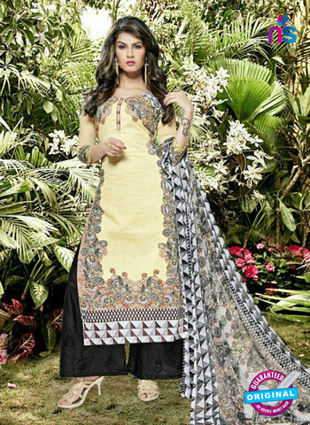 SC 12980 Beige and Black Pure Lawn Digital Print Party Wear Plazzo Suit