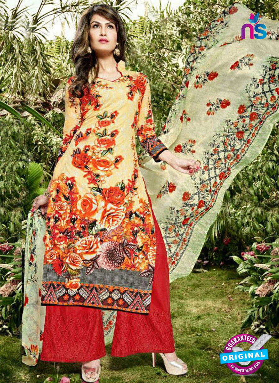 SC 12981 Yellow and Red Pure Lawn Digital Print Party Wear Plazzo Suit