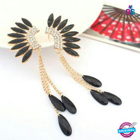 124 Exclusive Fashion Crystal Wings Tassel Dangle Earrings