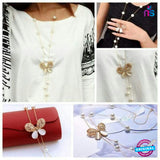 136 Exclusive Fashion Elegant Hollow Butterfly Pearl Crystal Necklace