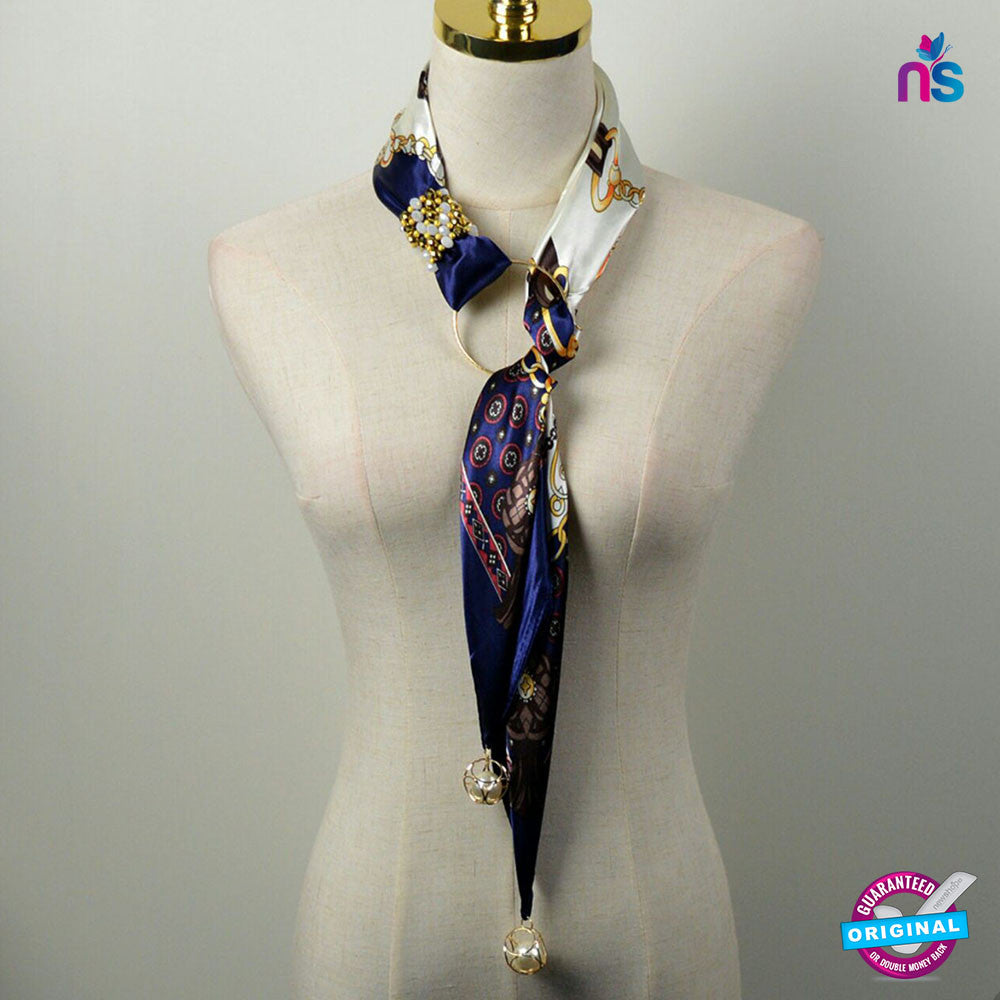 153 Exclusive Fashion Crystal Jewellery Pendant Silk Scarf with Pearl Accessory