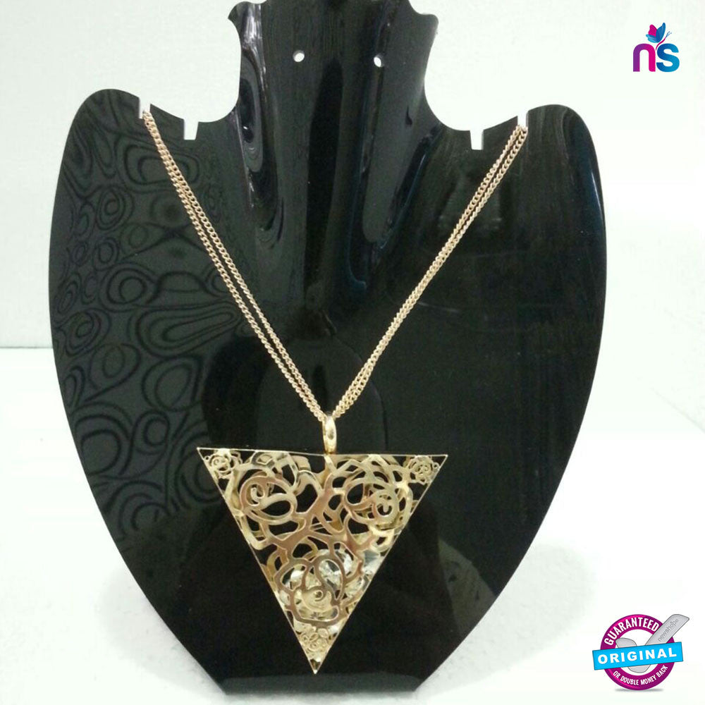 155 Exclusive Fashion Double Chain Traingular Pendant Necklace - Jewellery - NEW SHOP