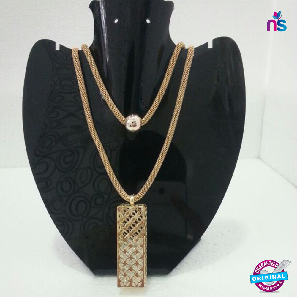 165 Exclusive Fashion Double Chain Crystal Pendant Necklace