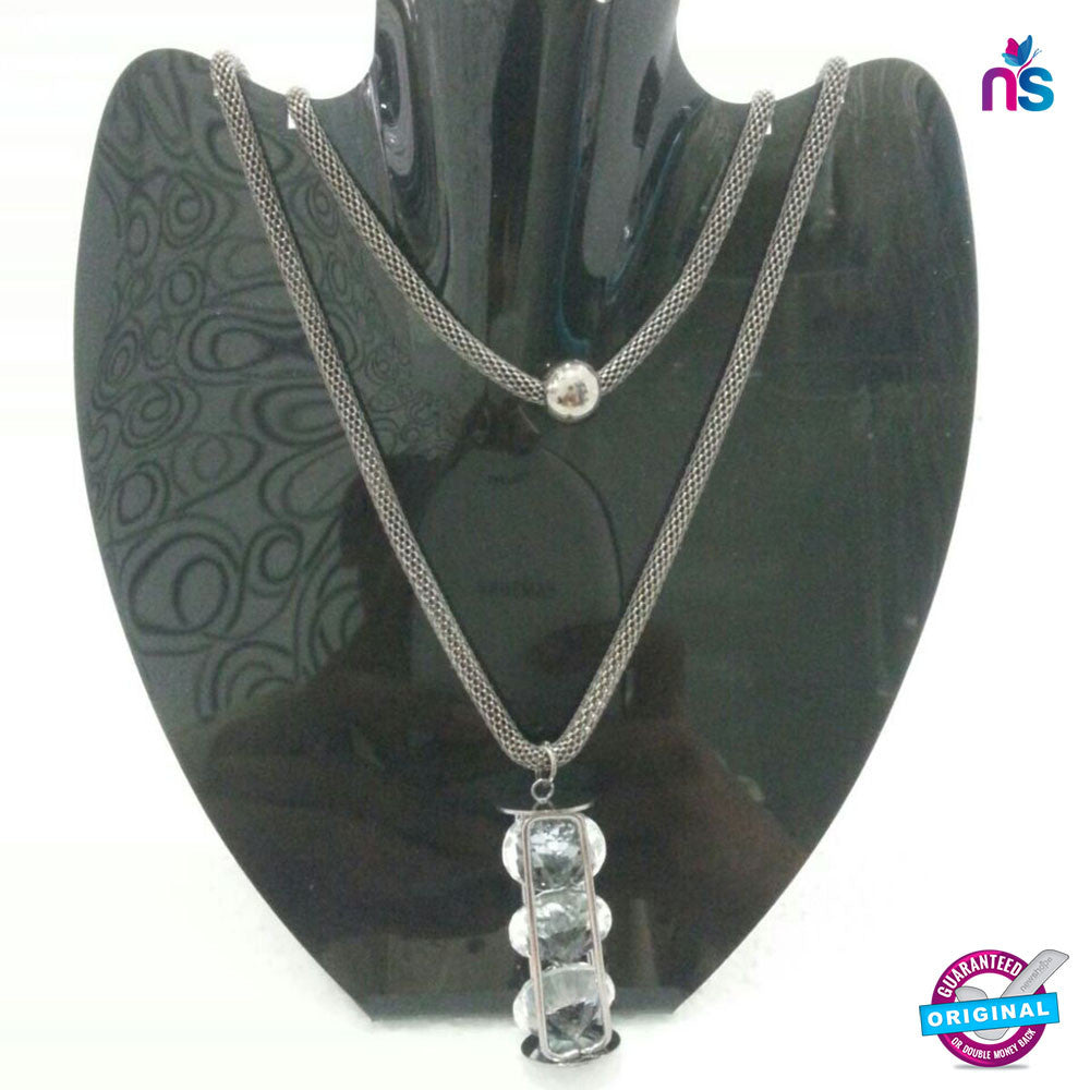 163 Exclusive Fashion Double Chain Crystal Pendant Necklace