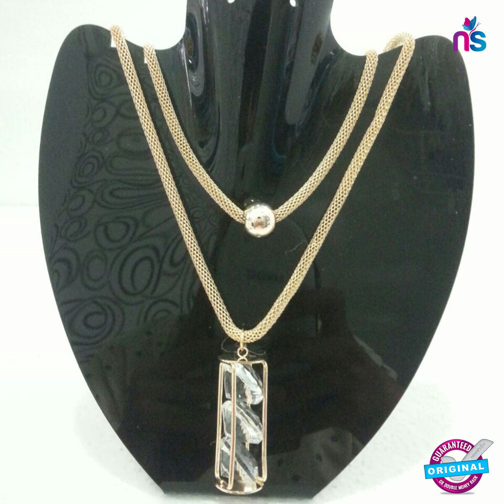 162 Exclusive Fashion Double Chain Crystal Pendant Necklace - Jewellery - NEW SHOP
