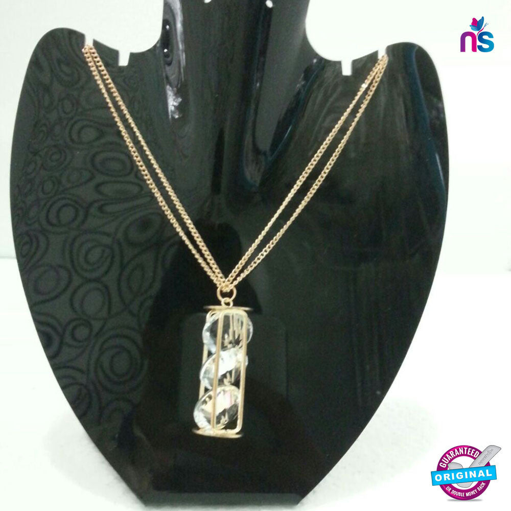 161 Exclusive Fashion Double Chain Crystal Pendant Necklace - Jewellery - NEW SHOP