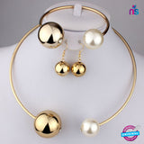 169 Exclusive Fashion Pearl Jewellery Set Including Necklace, Earrings and Bracelet