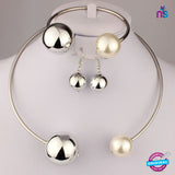 170 Exclusive Fashion Pearl Jewellery Set Including Necklace, Earrings and Bracelet