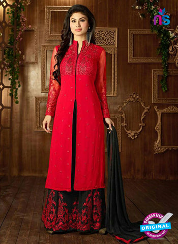 SC 14259 Red Semi Georgette Indo Western Suit