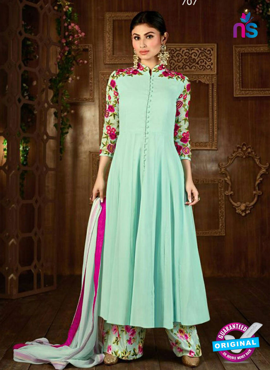 SC 14258 Sea Green Semi Georgette Indo Western Suit
