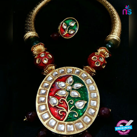 219 Exclusive Gold Plated Antique Set with High Quality Beads - Jewellery - NEW SHOP