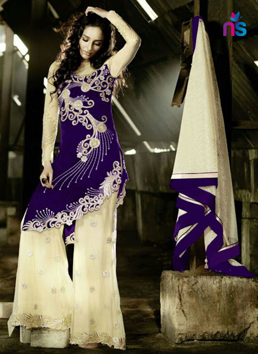 SC 12444  Purple and Beige Embroidered Georgette with Handwork Party Wear Replica Suit