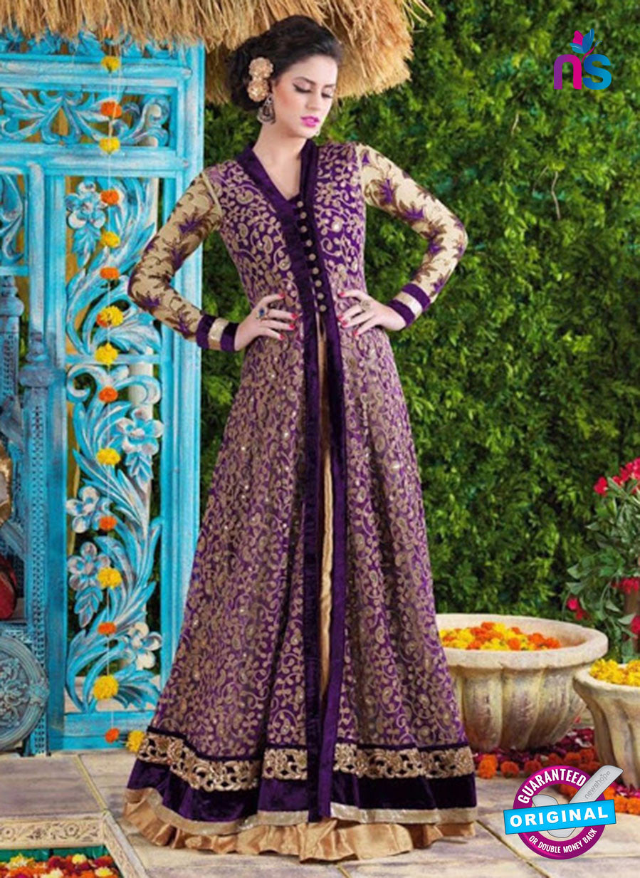 SC 12424  Purple and Beige Embroidered Net Party Wear Designer Suit