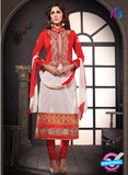 NS10802 Red and White Cotton Designer Straight Suit