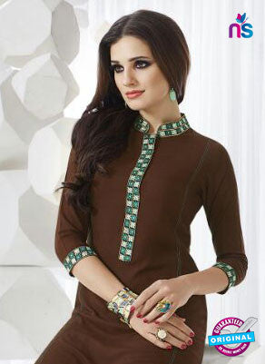 SC 13953 Brown Rayon Cotton Exclusive Designer Kurti Online