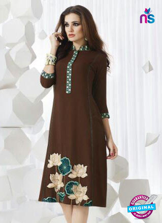 SC 13953 Brown Rayon Cotton Exclusive Designer Kurti