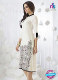 SC 13954 White Rayon Cotton Exclusive Designer Kurti