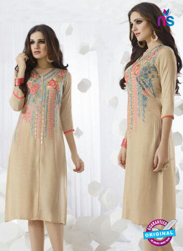 SC 13964 Beige Rayon Cotton Exclusive Designer Kurti