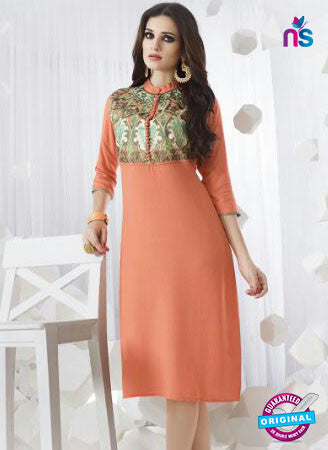 SC 13956 Orange Rayon Cotton Exclusive Designer Kurti