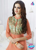 SC 13956 Peach Rayon Cotton Exclusive Designer Kurti