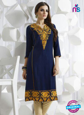 SC 13952 Dark Blue Rayon Cotton Exclusive Designer Kurti