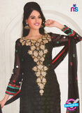 NS10972 Designer Black Georgette Sraight Suit