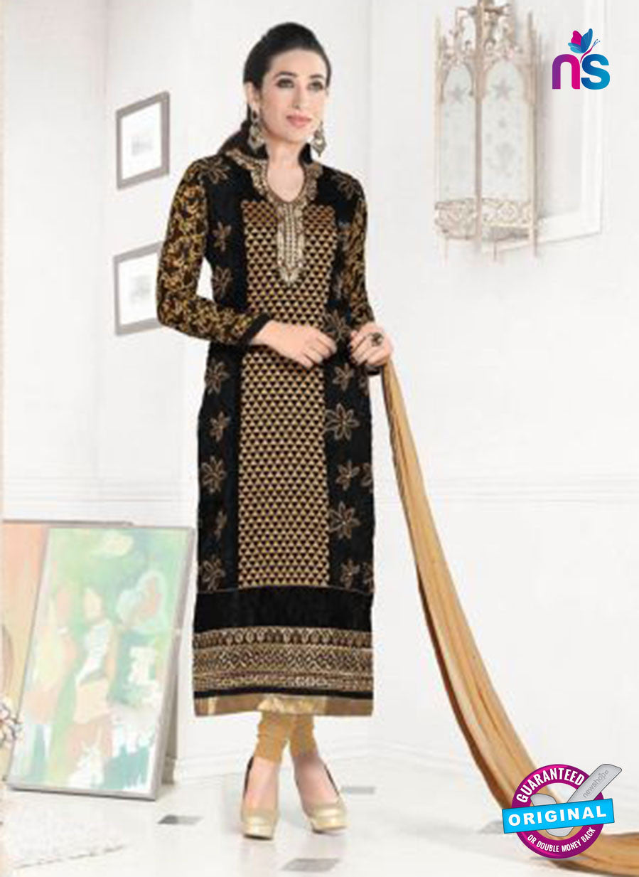 NS10852 Black and Brown Heavy Georgette Straight Suit