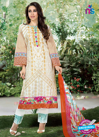 NS10862  Brown and White Lawn Cotton Pakistani Suit