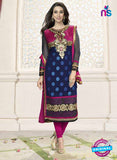 NS10854 A NavyBlue and Magenta Embroidered Georgette Straight Suit