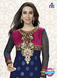NS10854 A NavyBlue and Magenta Embroidered Georgette Straight Suit Online