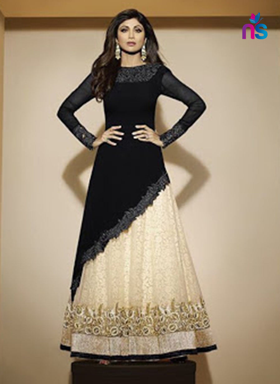 SC 12472 Black and Beige Party Wear Georgette Suit
