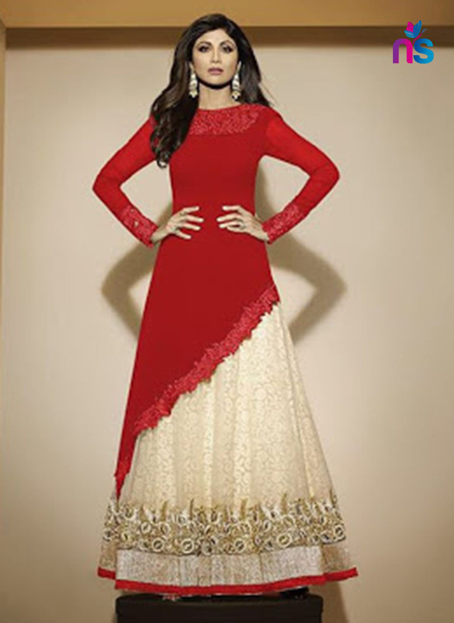 SC 12471 Red and Beige Party Wear Georgette Suit