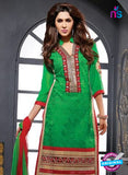 NS10630 Green and Red Cotton Straight suit