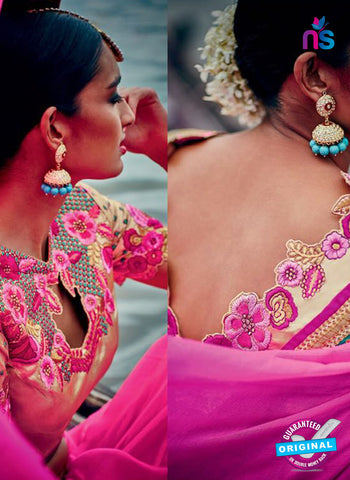 pink party wear saree