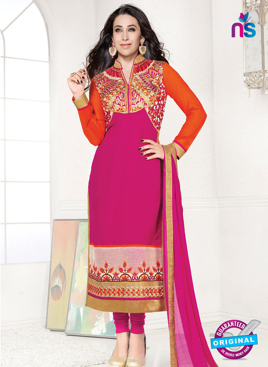 NS10851 Deep Orange and Magenta Heavy Georgette Straight Suit