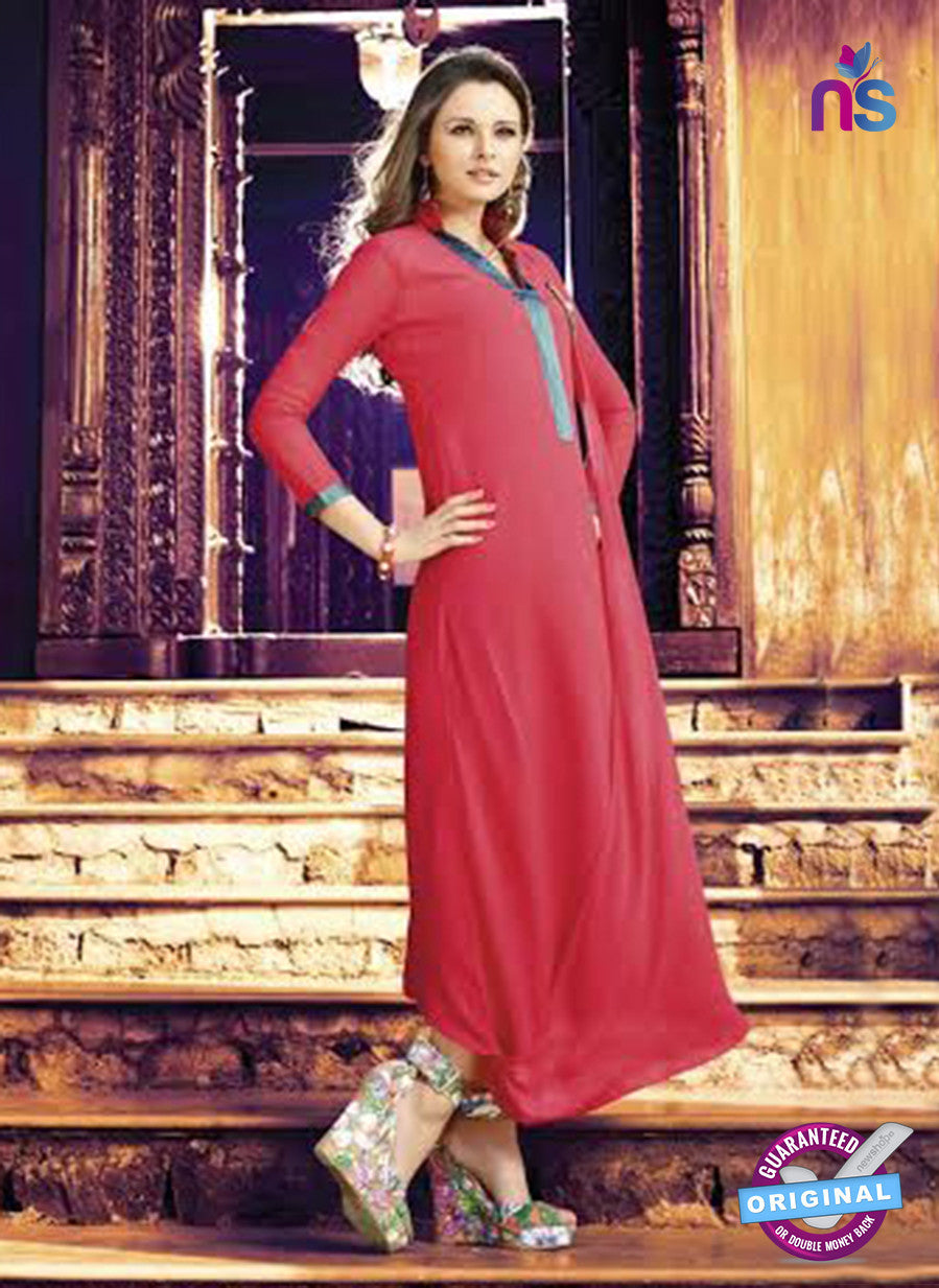NS11030  Red And Green Designer Georgette Embroidered Kurti