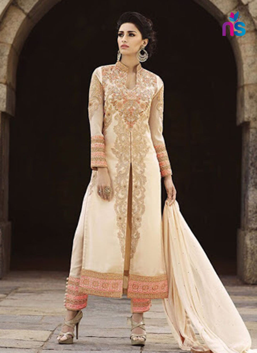 SC 12479 Beige Party Wear Goergette Santoon Designer Replica