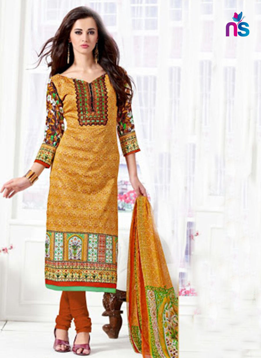 NS11522 Orange and DarkRed Daily Wear Satin Cotton Straight Suit