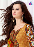 Saadiya 1007 Brown Daily Wear Satin Cotton Straight Suit