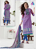 NS11523 Purple and RoyalBlue Daily Wear Satin Cotton Straight Suit
