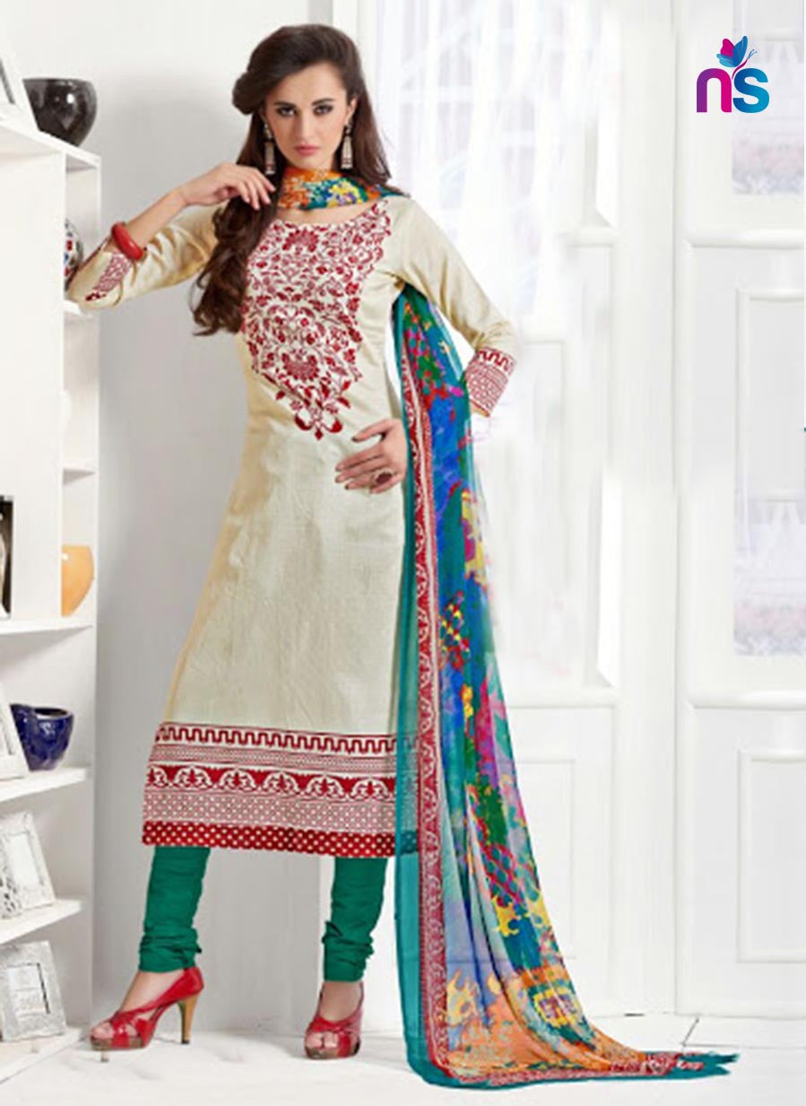 Saadiya 1009 Ivory and SpringGreen Daily Wear Satin Cotton Straight Suit