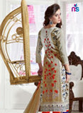 NS11525 Ivory and Orange Daily Wear Satin Cotton Straight Suit